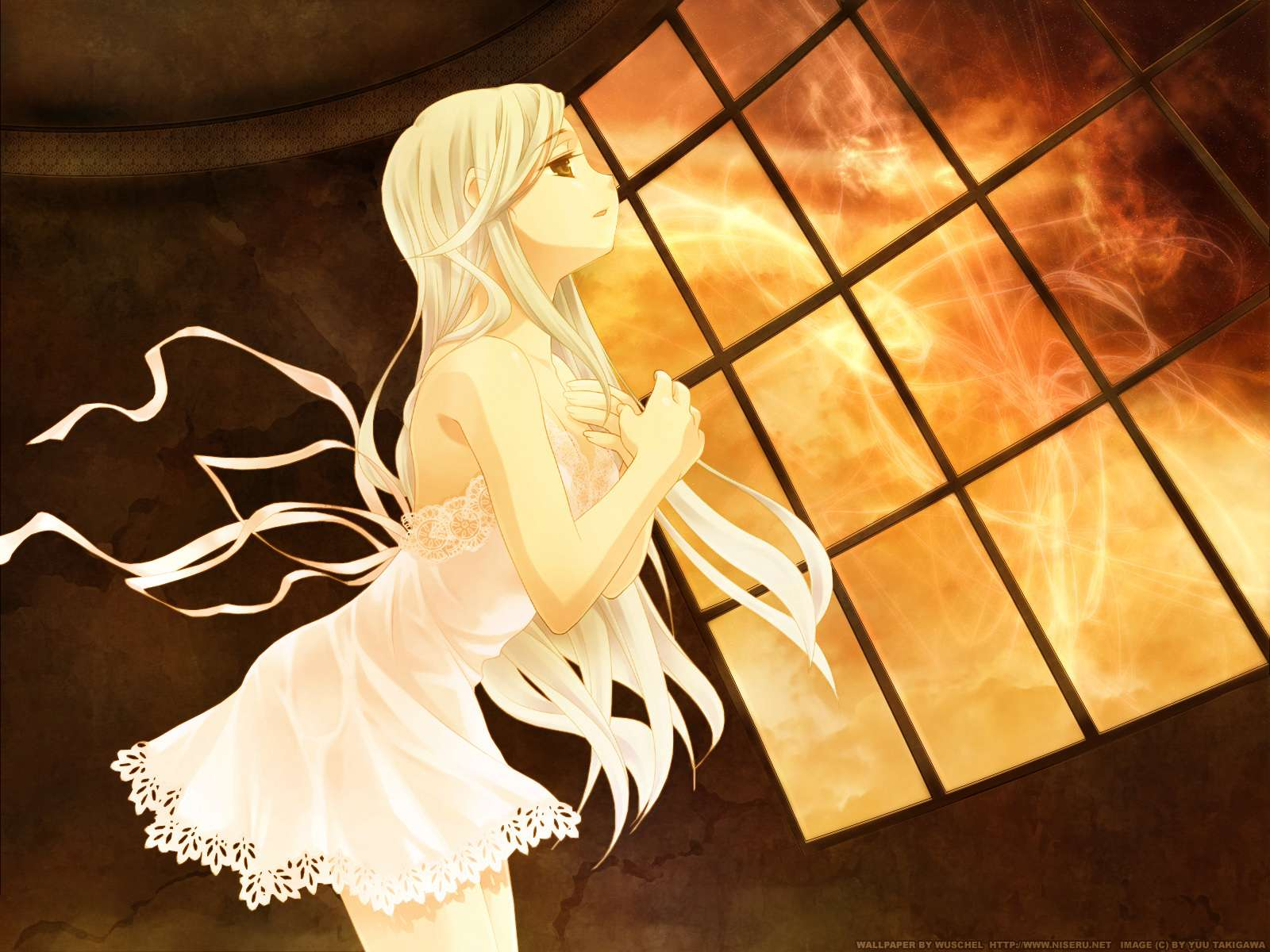 dress long_hair rino takigawa_yuu white_clarity white_hair