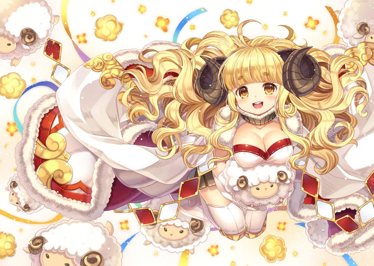 anila_(granblue_fantasy) animal blonde_hair breasts cape capura_lin cleavage granblue_fantasy horns long_hair sheep sheepgirl thighhighs yellow_eyes