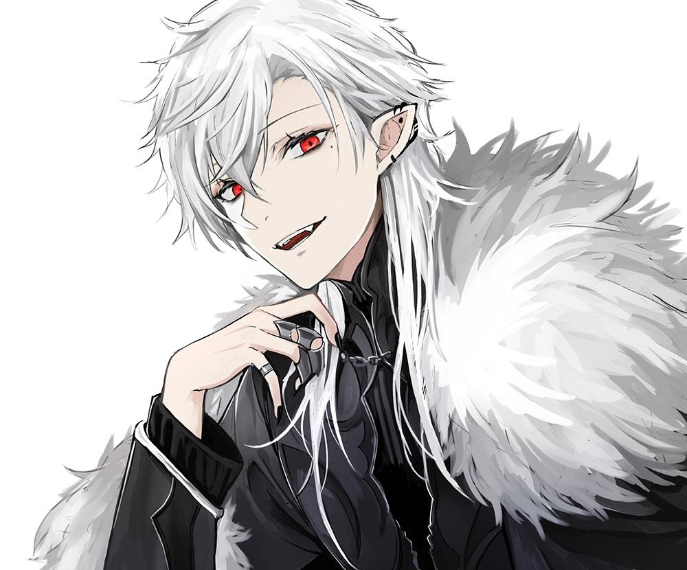 all_male close cropped fang gothic kuzuha_(nijisanji) long_hair luse_maonang male nijisanji pointed_ears polychromatic red_eyes vampire white white_hair