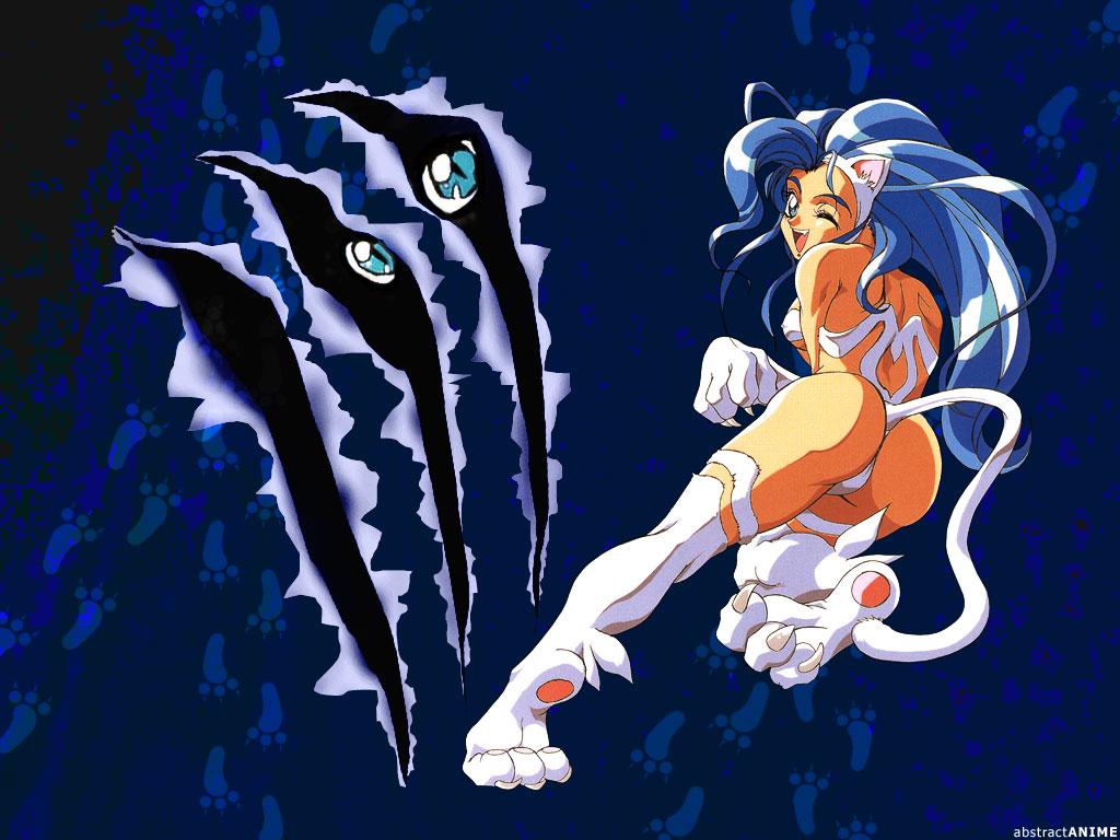 animal_ears ass blue_hair capcom darkstalkers felicia tail wink