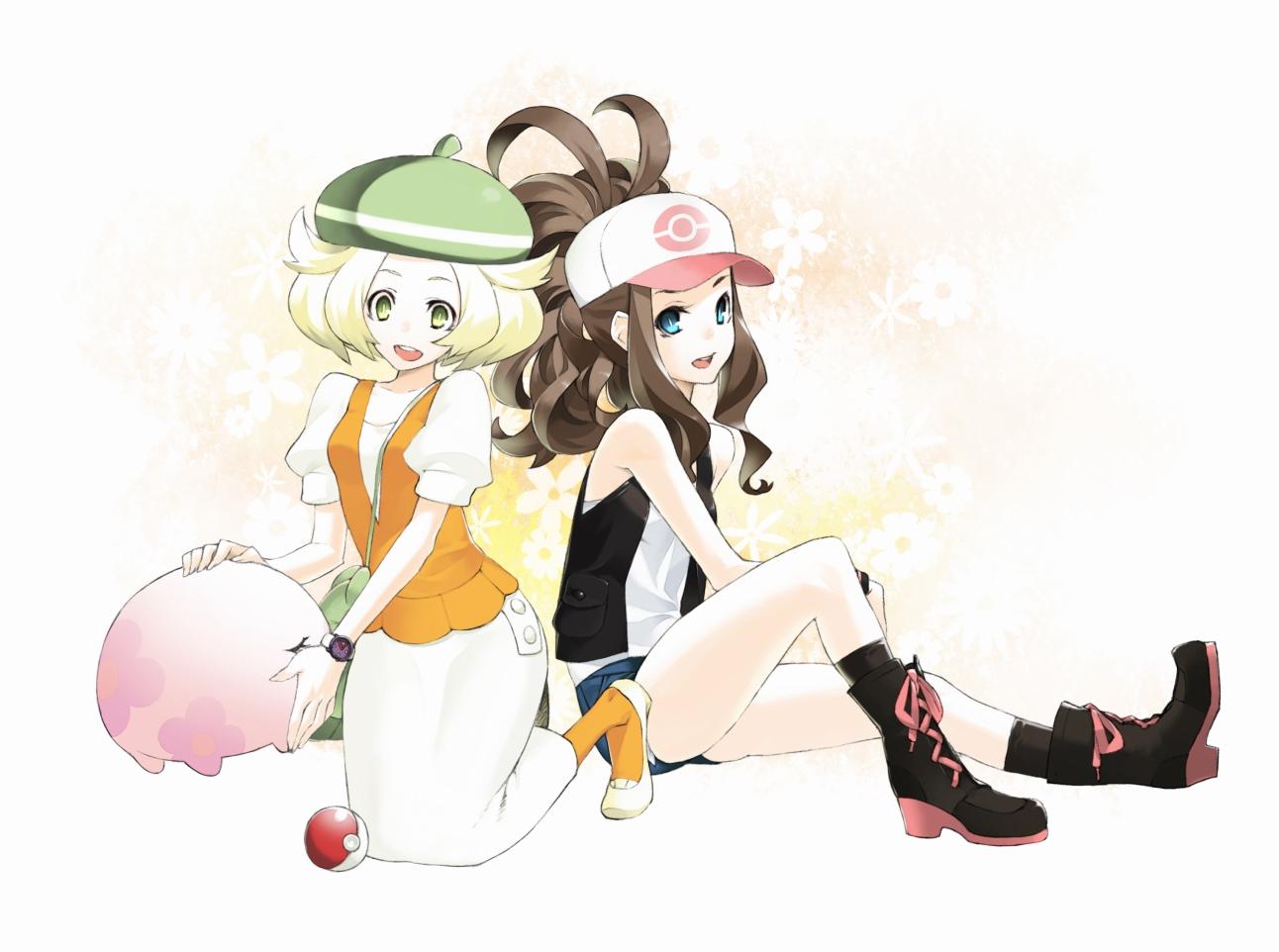 92m bel_(pokemon) blonde_hair blue_eyes boots brown_hair green_eyes hat munna pokemon touko_(pokemon)