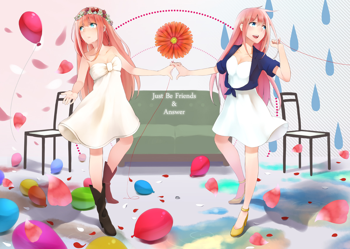 2girls flowers just_be_friends_(vocaloid) megurine_luka petals retsuna vocaloid