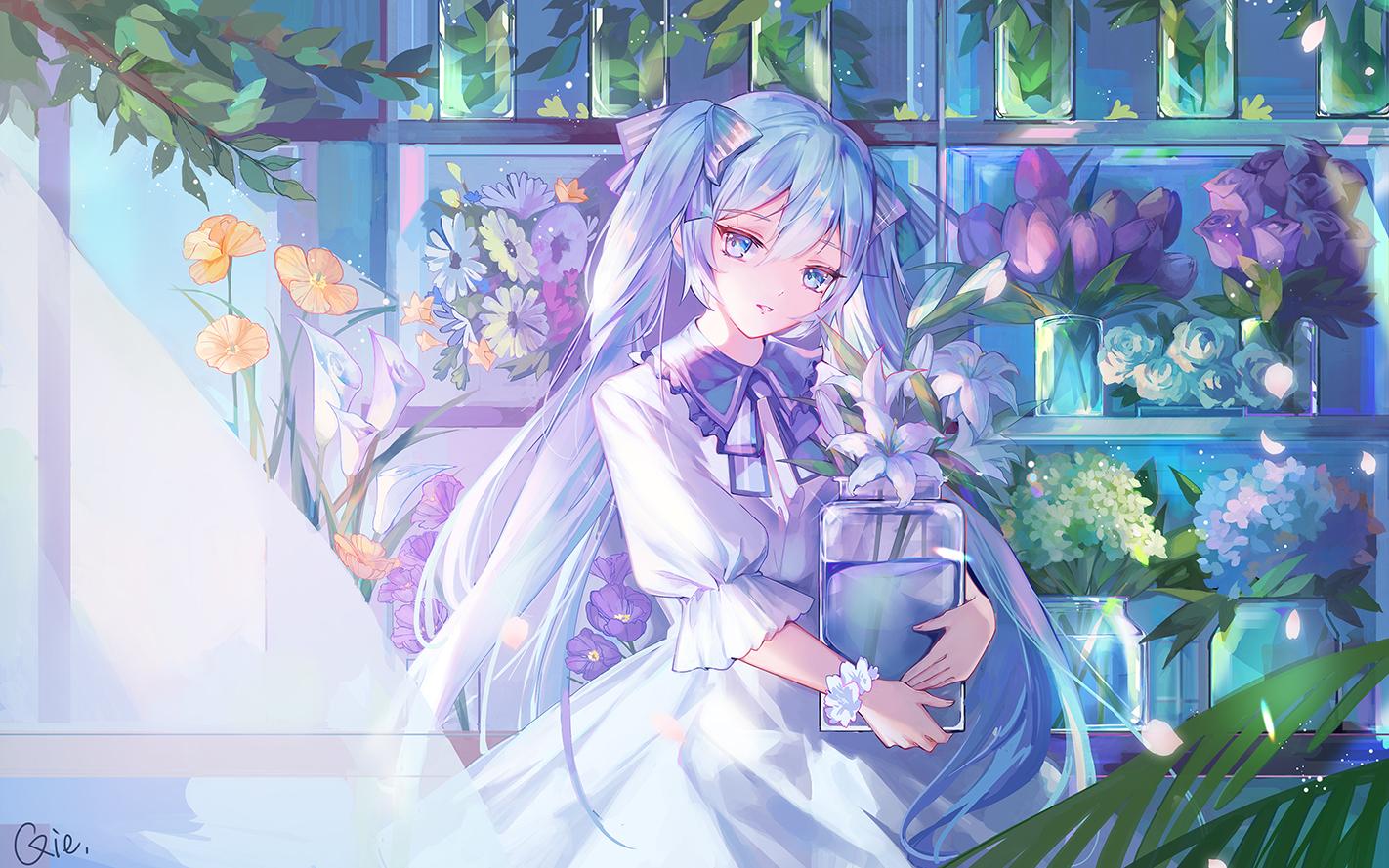 aqua_eyes aqua_hair dress flowers hatsune_miku leaves long_hair petals qie_(25832912) signed twintails vocaloid wristwear