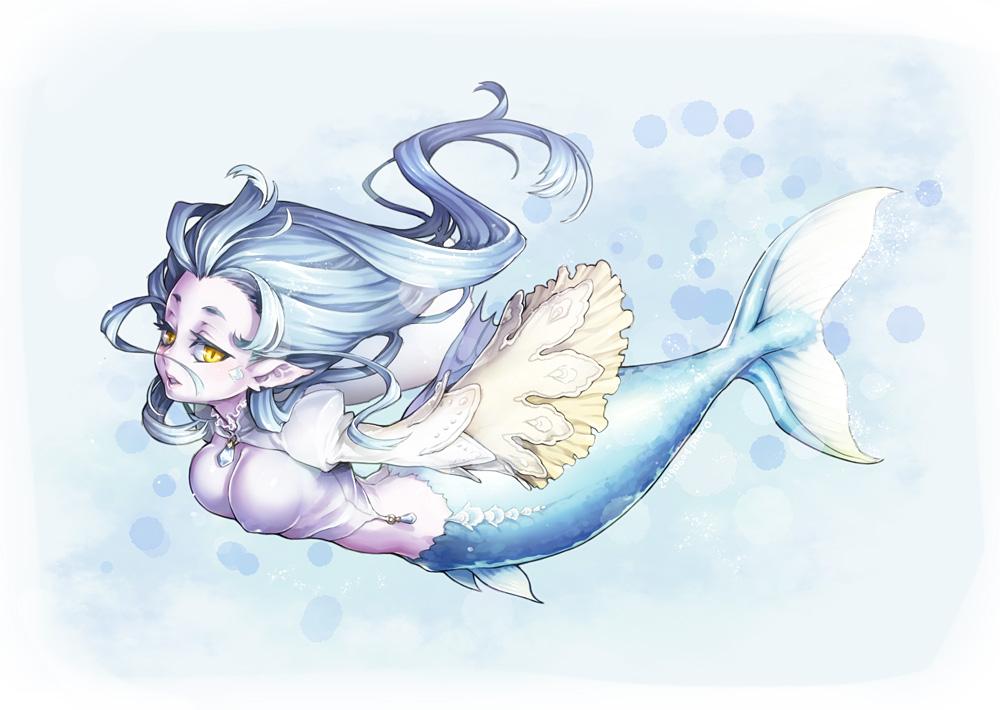 blue_hair breasts long_hair mermaid nishinomiya_sakuko original pointed_ears yellow_eyes