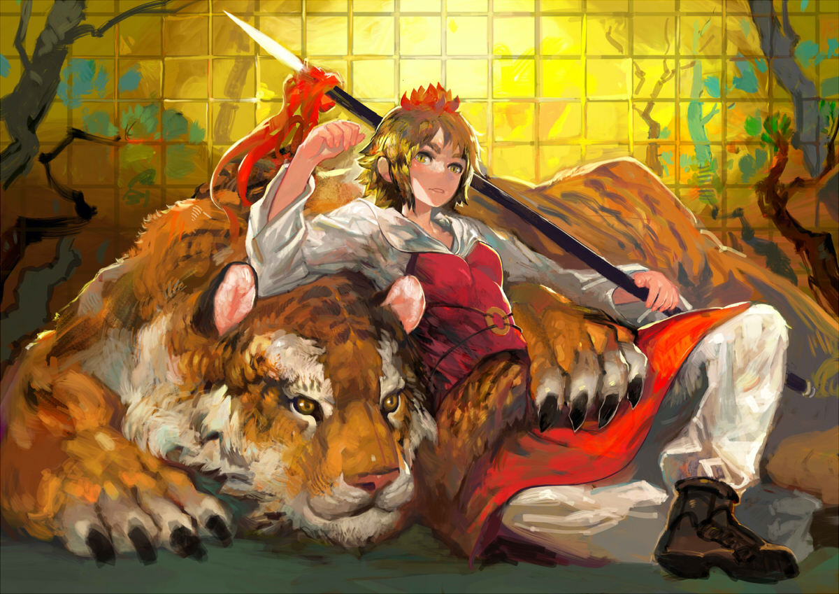 animal blonde_hair boots onion_(onion_and_pi-natto) ribbons spear tiger toramaru_shou touhou weapon yellow_eyes