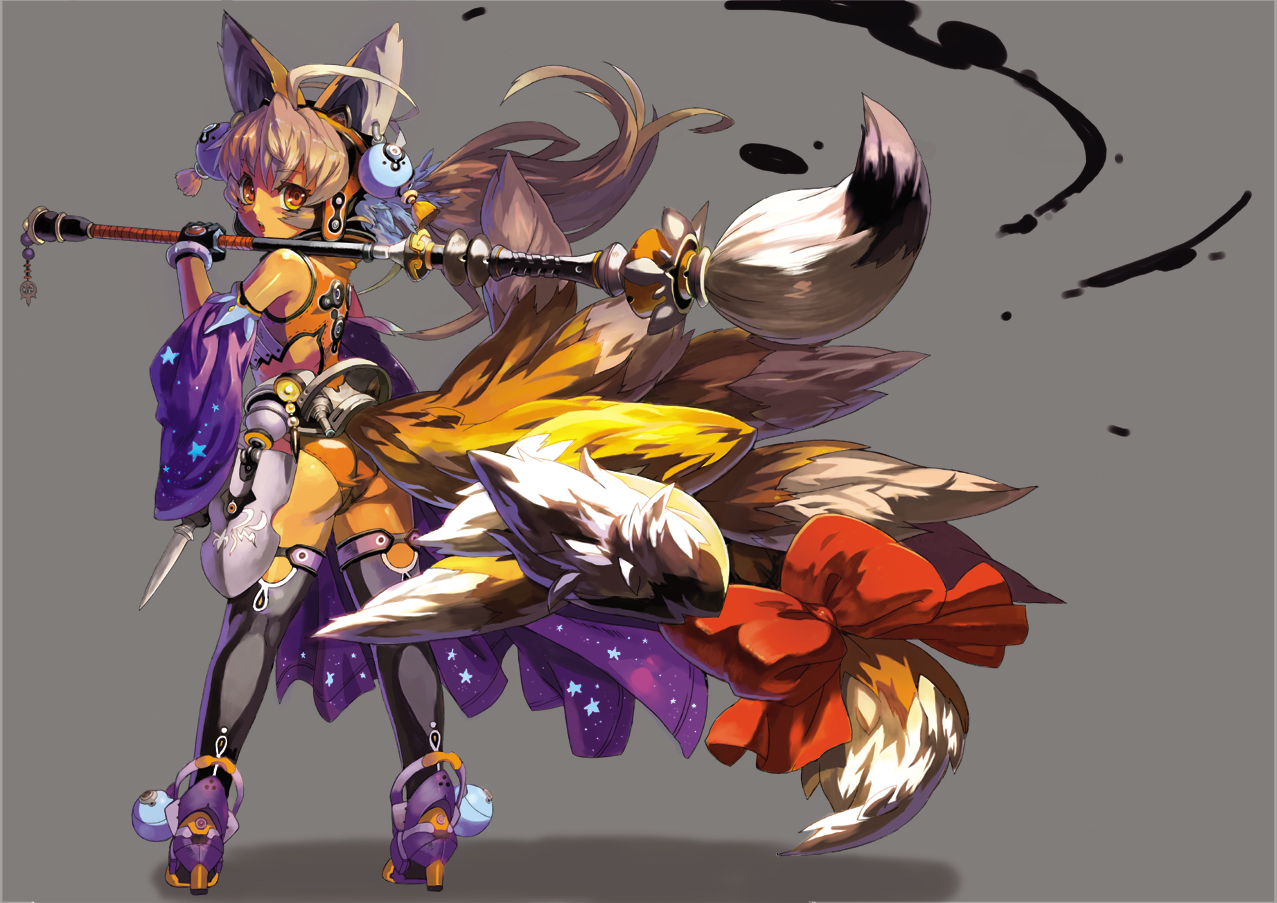 animal_ears ass blade_&_soul bow foxgirl long_hair multiple_tails orange_eyes original tail won_(toufunokado)