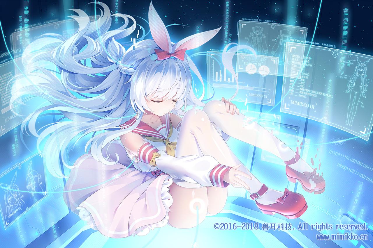 animal_ears braids bunny_ears dress long_hair mimikko_ui momona_(mvv) mvv school_uniform thighhighs watermark white_hair