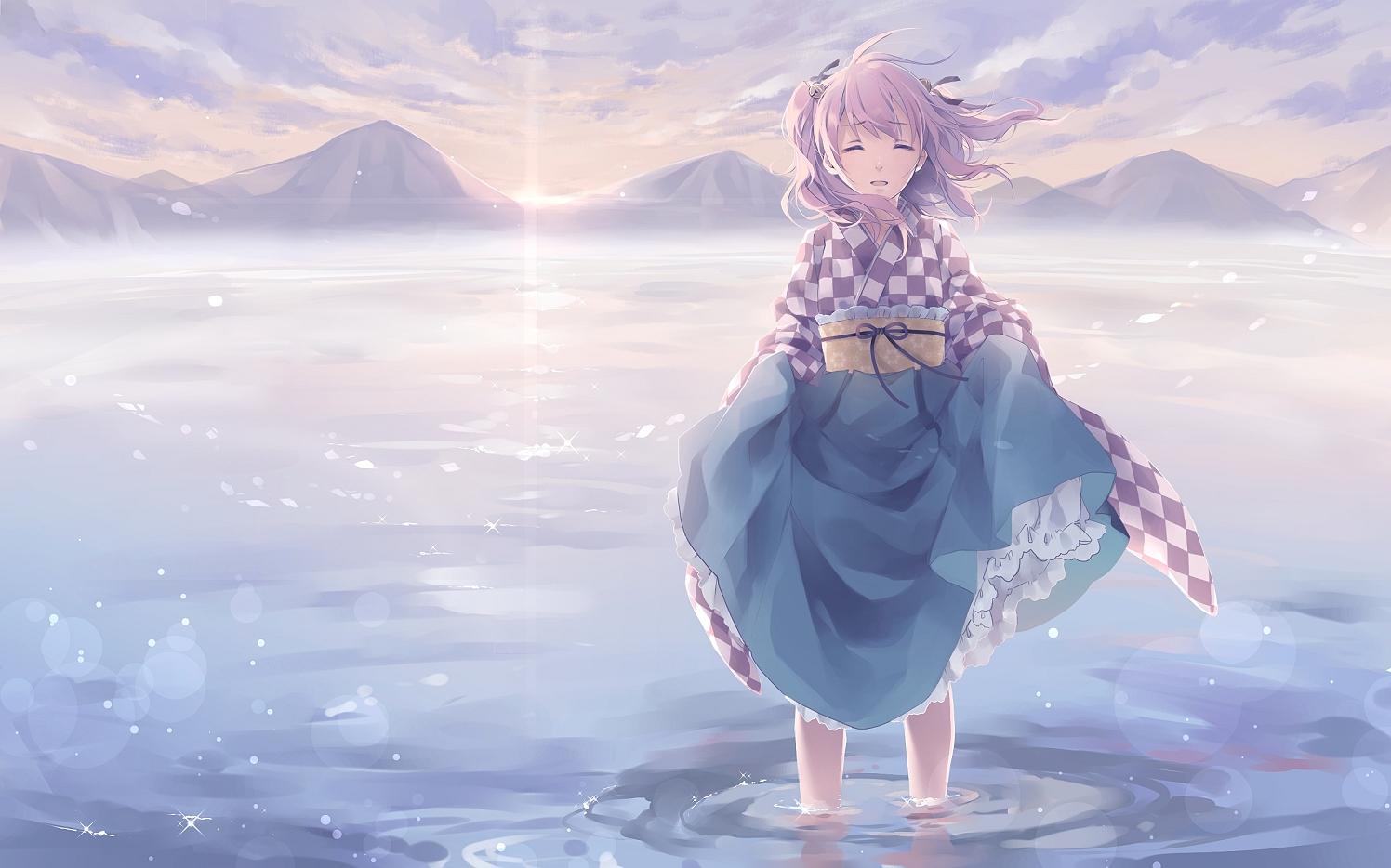 clouds japanese_clothes kimono long_hair motoori_kosuzu purple_hair ribbons sky touhou toutenkou water