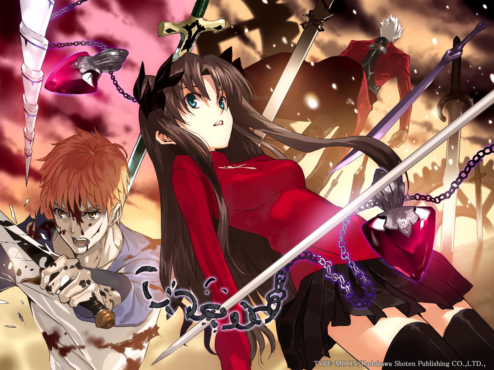 archer blood emiya_shirou fate_(series) fate/stay_night male necklace skirt sword thighhighs tohsaka_rin watermark weapon zettai_ryouiki