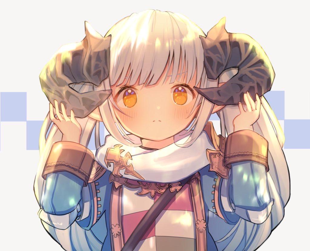 blush final_fantasy final_fantasy_xiv horns lalafell loli long_hair orange_eyes pointed_ears scarf twintails umika35 white_hair