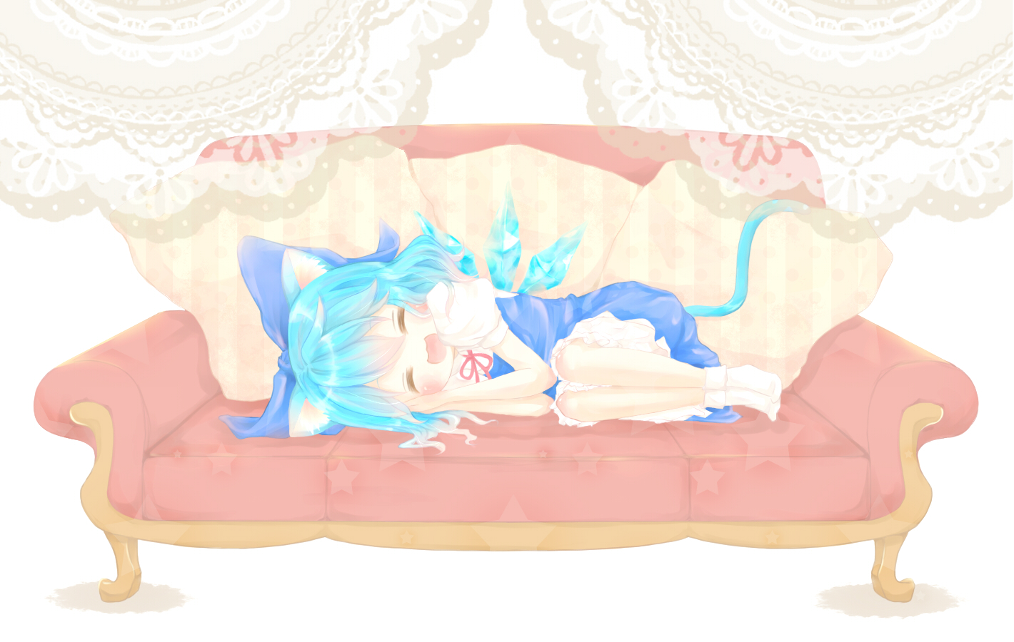 animal_ears ann_nachi blue_hair blush catgirl cirno short_hair sleeping tail touhou