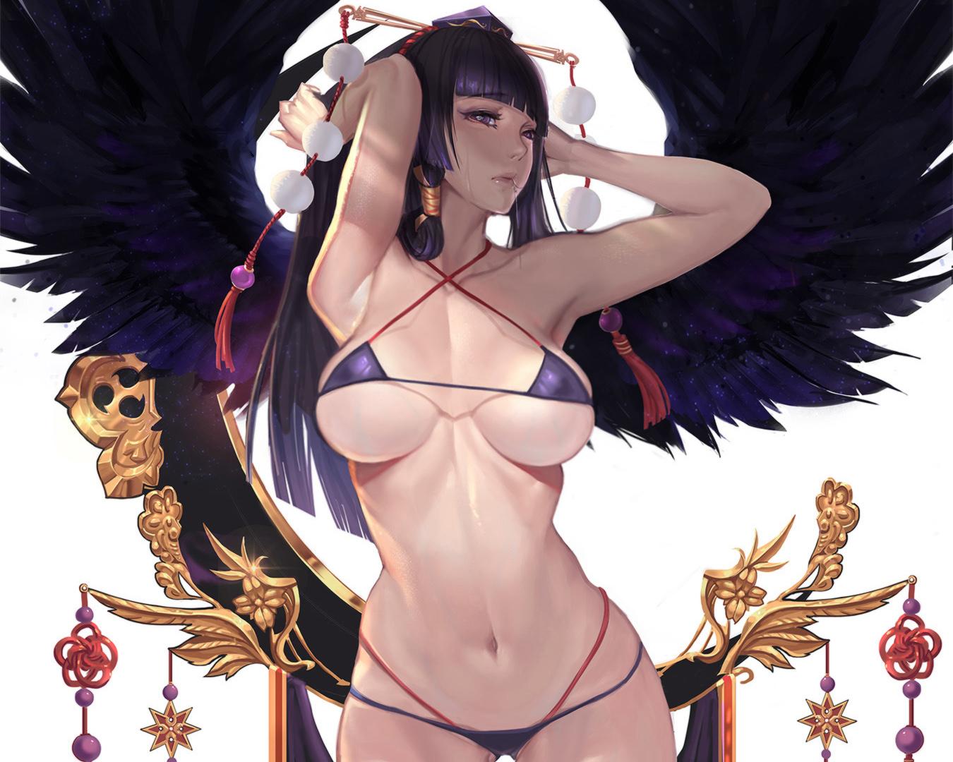 bikini cropped dead_or_alive feathers gtunver headdress navel nyotengu swimsuit underboob white wings