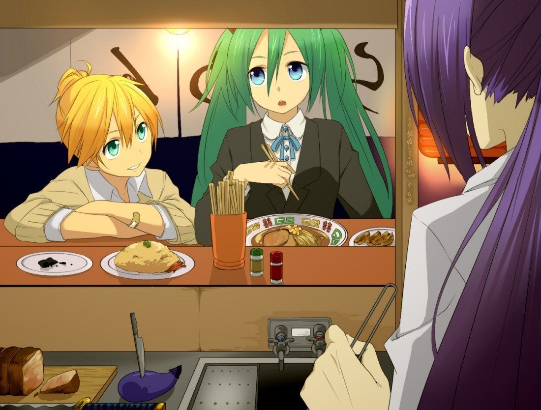 food hatsune_miku kagamine_len kamui_gakupo male sama twintails vocaloid