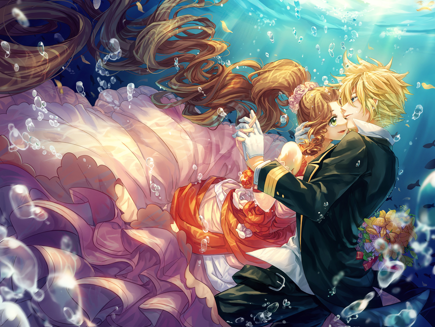 aerith_gainsborough blonde_hair brown_hair bubbles cat_princess cloud_strife dress final_fantasy final_fantasy_vii flowers gloves green_eyes long_hair male ponytail short_hair suit underwater water