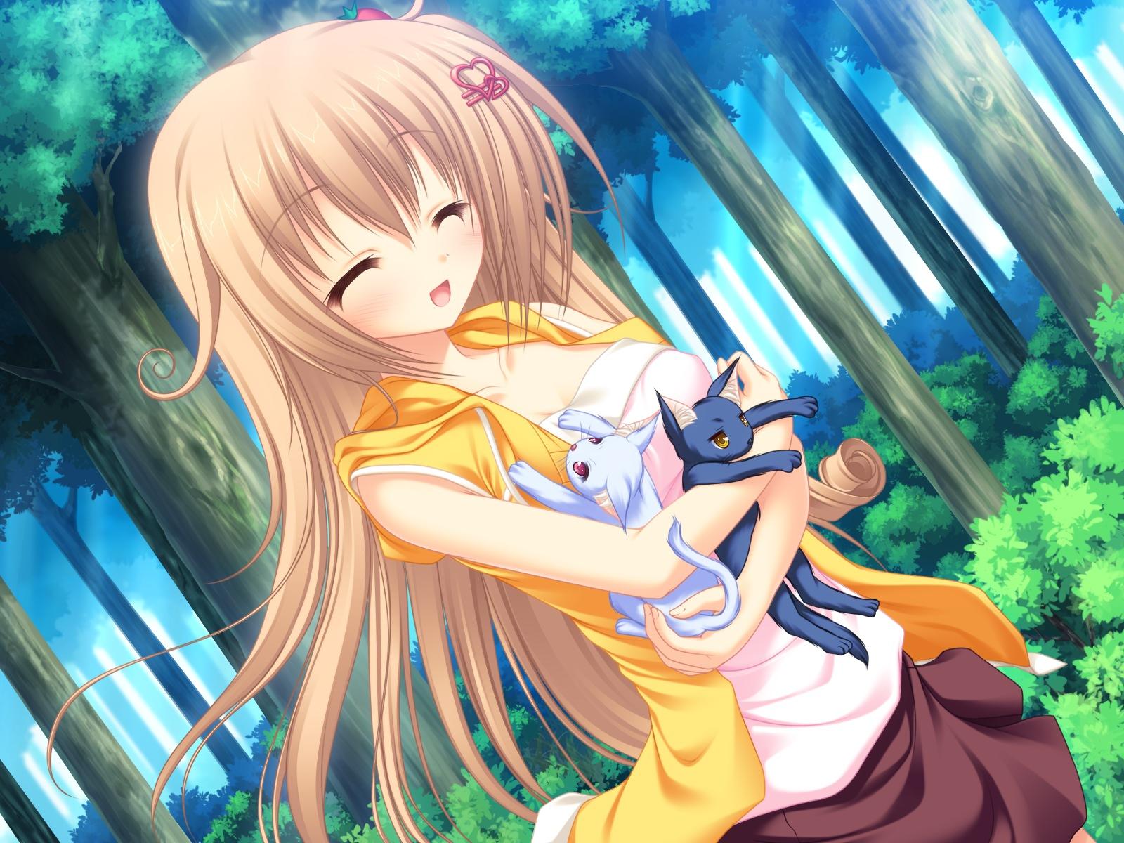 animal blush brown_hair cat long_hair mikagami_mamizu neko_koi ryuudou_misaki whirlpool