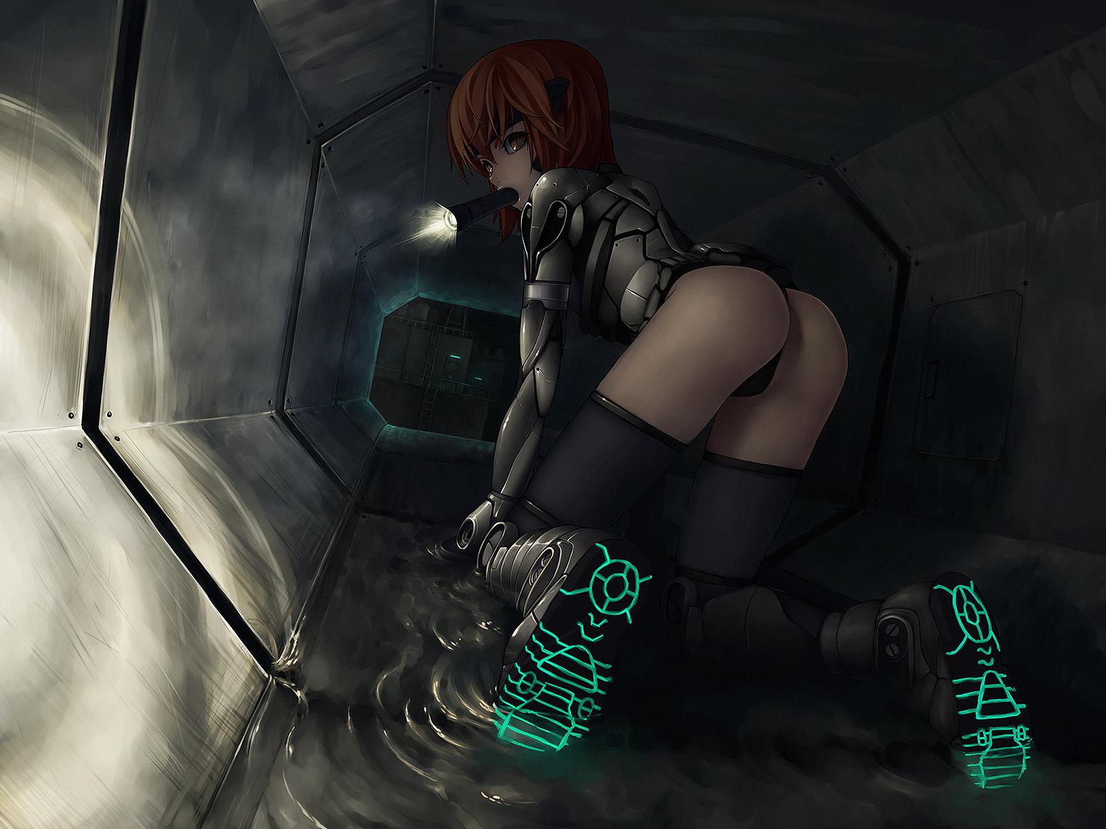 armor ass boots dark iwai_ryo orange_eyes orange_hair original short_hair thighhighs water