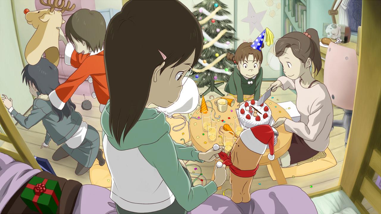amasawa_yuko black_hair brown_hair cake christmas dennou_coil food group hashimoto_fumie hat okonogi_kyouko okonogi_yuko oyaji ponytail santa_hat tree