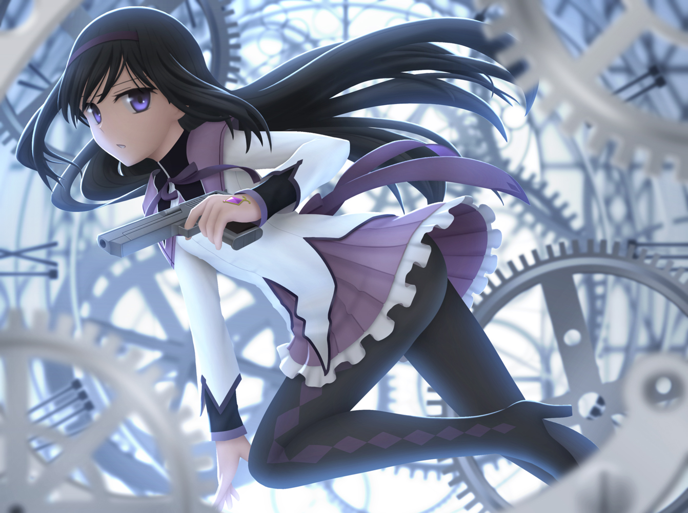 akemi_homura black_hair gun headband long_hair mahou_shoujo_madoka_magica pantyhose purple_eyes school_uniform siraha skirt weapon