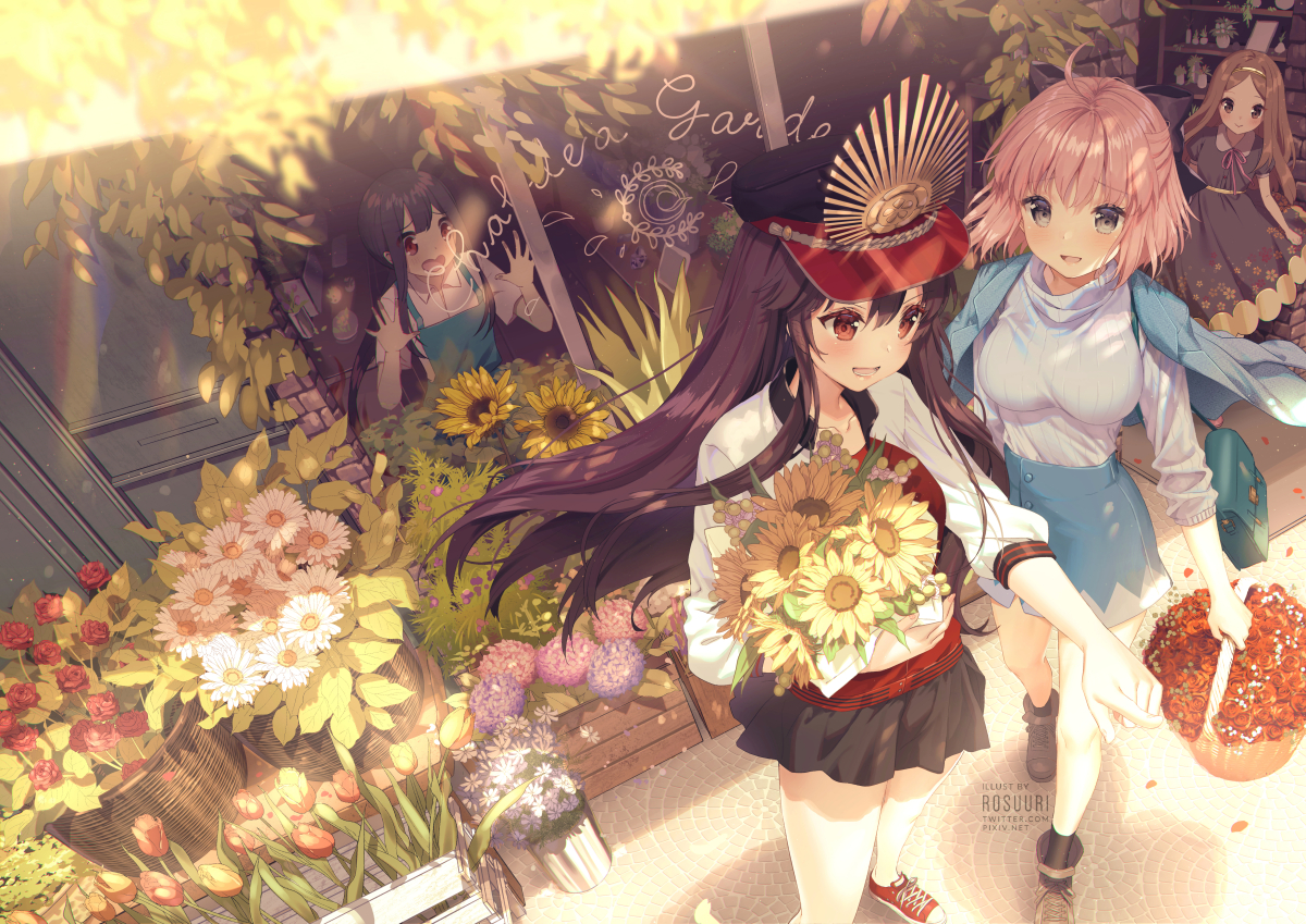 apron black_hair blush brown_hair chacha_(fate/grand_order) dress fate/grand_order fate_(series) flowers group hat headband long_hair male nobukatsu_oda_(fate) nobunaga_oda_(fate) okita_souji_(fate) pink_hair ponytail purple_hair red_eyes rosuuri skirt sunflower watermark