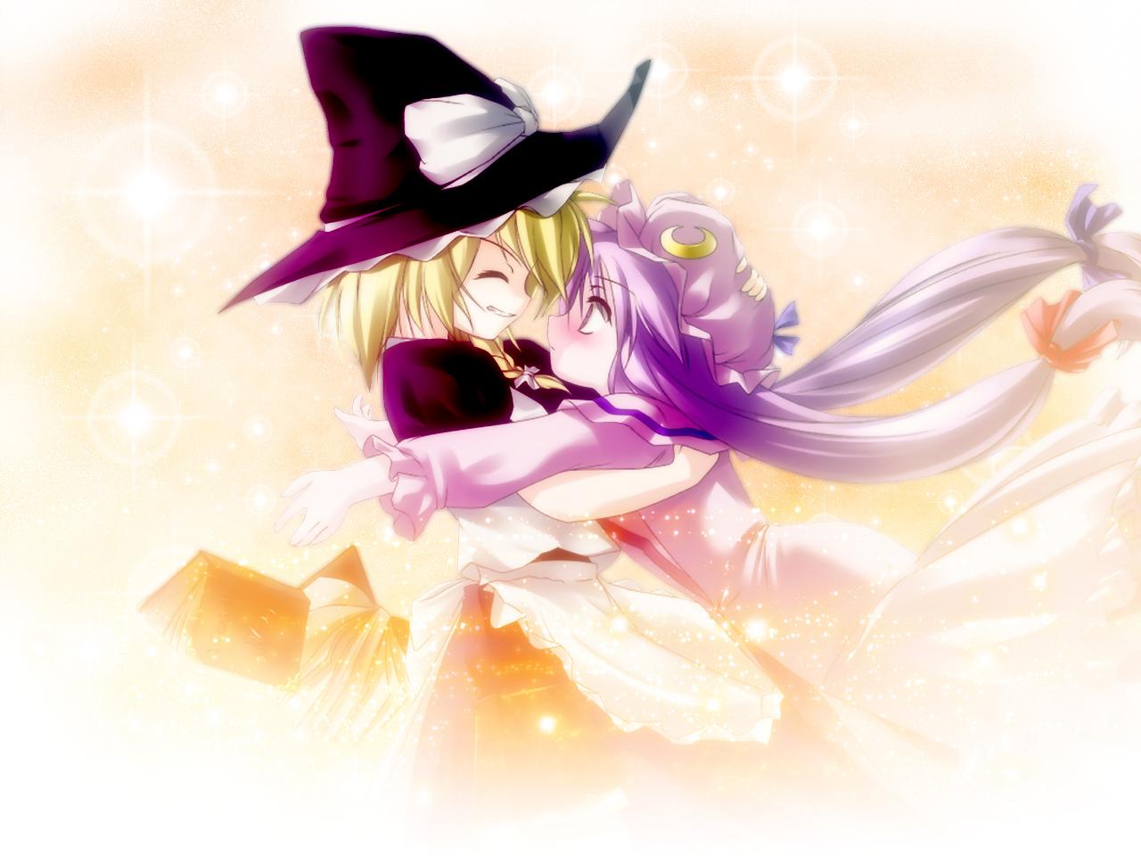 2girls blonde_hair book hat hug kirisame_marisa long_hair patchouli_knowledge purple_eyes purple_hair ribbons short_hair shoujo_ai touhou witch