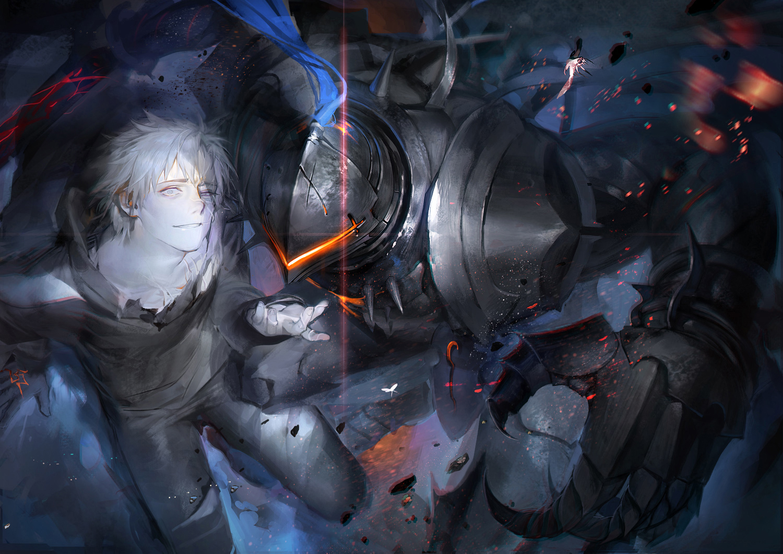 all_male armor fate/grand_order fate_(series) fate/stay_night fate/zero lancelot_(fate) liduke male matou_kariya short_hair white_hair
