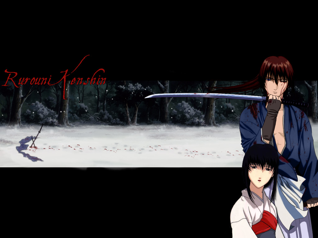 blood himura_kenshin japanese_clothes male rurouni_kenshin scar snow sword weapon yukishiro_tomoe