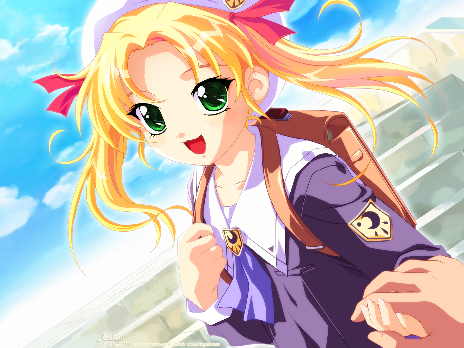 blonde_hair cat_smile green_eyes hat little_monica_monogatari long_hair may_(little_monica_monogatari) nonohara_miki school_uniform twintails