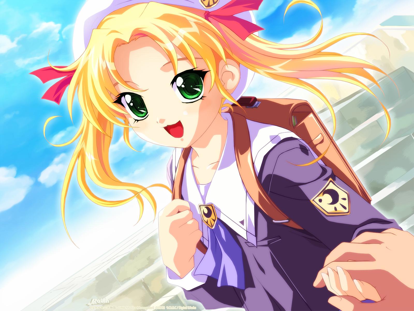 blonde_hair cat_smile green_eyes hat little_monica_monogatari long_hair may_(little_monica_monogatari) nonohara_miki seifuku twintails