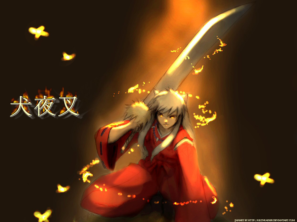 animal_ears inuyasha inuyasha_(character) japanese_clothes necklace sword weapon white_hair yellow_eyes
