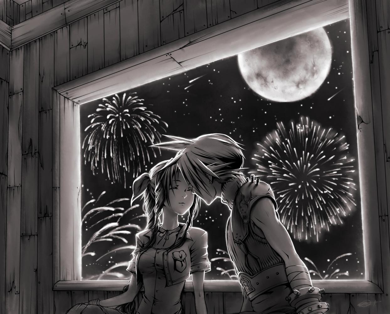 aerith_gainsborough cloud_strife final_fantasy final_fantasy_vii long_hair monochrome moon night short_hair stars
