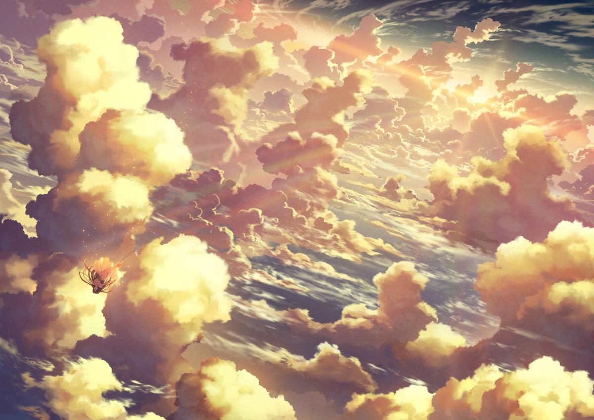 black_hair clouds dress kami_(yoshipt0716) long_hair original polychromatic scenic sky