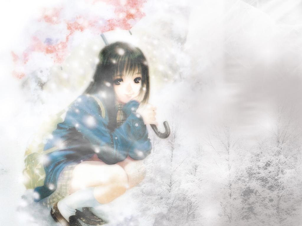 black_hair brown_eyes long_hair school_uniform snow tagme_(artist) tagme_(character) umbrella winter