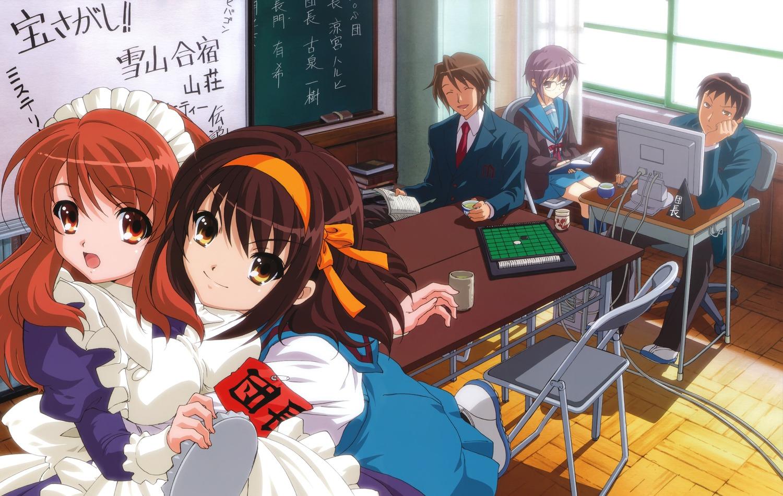 asahina_mikuru computer cosplay group jpeg_artifacts koizumi_itsuki kyon maid male nagato_yuki school_uniform suzumiya_haruhi suzumiya_haruhi_no_yuutsu tagme waitress