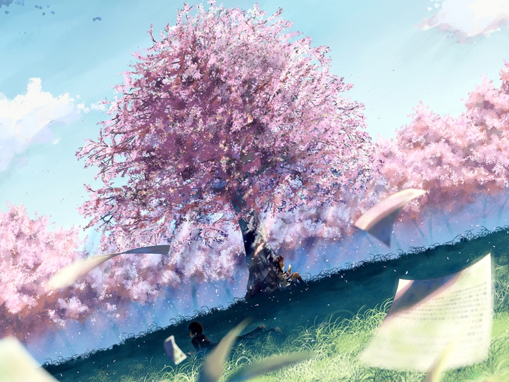 brown_hair cherry_blossoms clouds flowers grass landscape paper scenic school_uniform short_hair sky