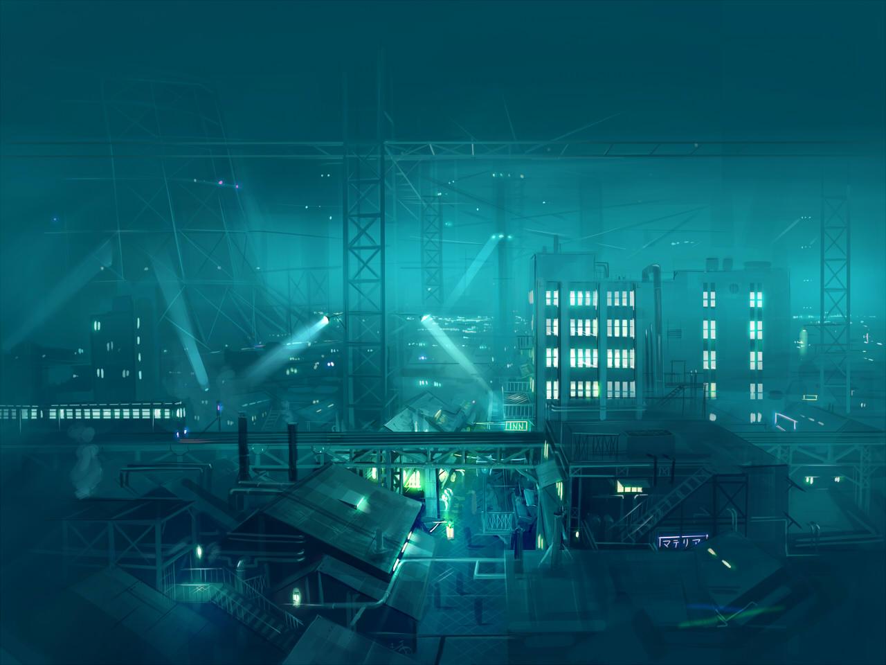 building city final_fantasy final_fantasy_vii night scenic seo_tatsuya train