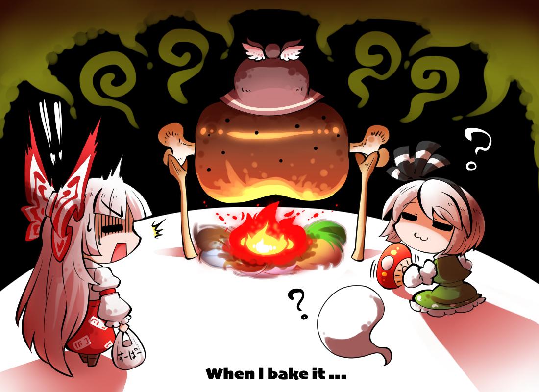 bow cat_smile fan fire food fujiwara_no_mokou hat headband kashuu_(b-q) konpaku_youmu long_hair myon mystia_lorelei short_hair skirt touhou white_hair