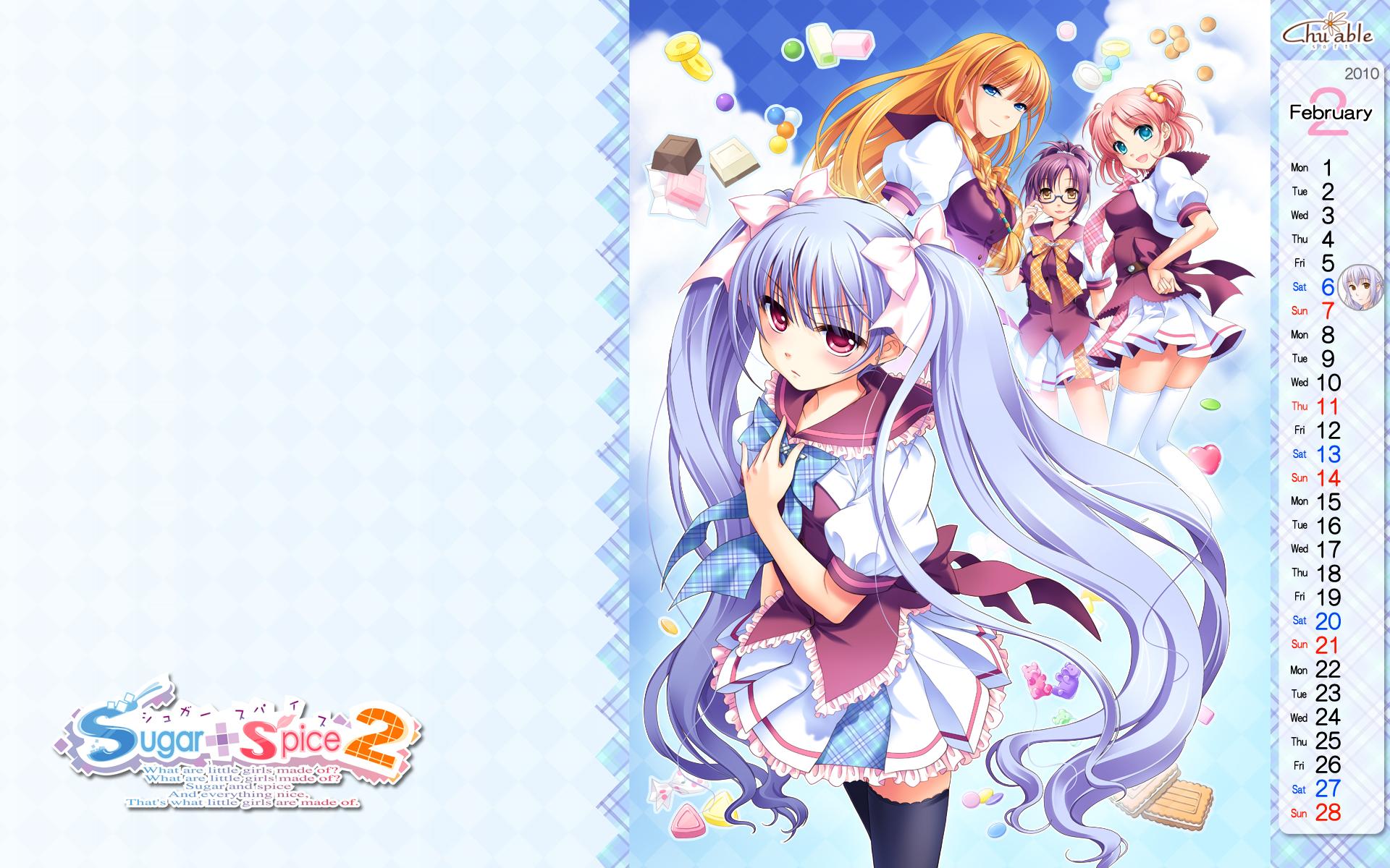 amamoto_fuuka calendar chuablesoft ginta hiiragi_ginga ribbons sugar+spice_2 tagme tanegashima_sana tohno_kaoruko twintails