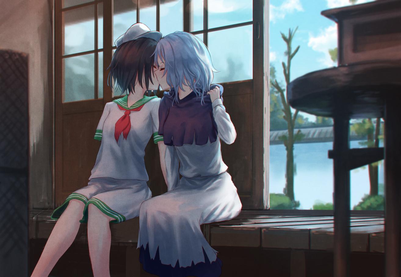 2girls brown_hair hat kiss kumoi_ichirin murasa_minamitsu roke_(taikodon) seifuku short_hair shorts shoujo_ai skirt touhou white_hair