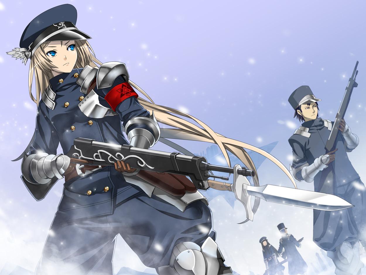 armor black_hair blonde_hair blue_eyes fujimon gloves gun hat long_hair original pixiv_fantasia short_hair snow uniform weapon