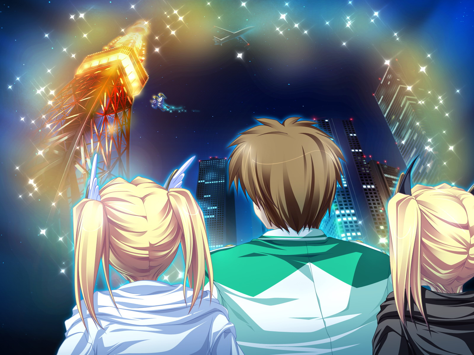 aircraft blonde_hair building city game_cg group magic magus_tale night nina_geminis rena_geminis school_uniform tenmaso twins twintails whirlpool witch