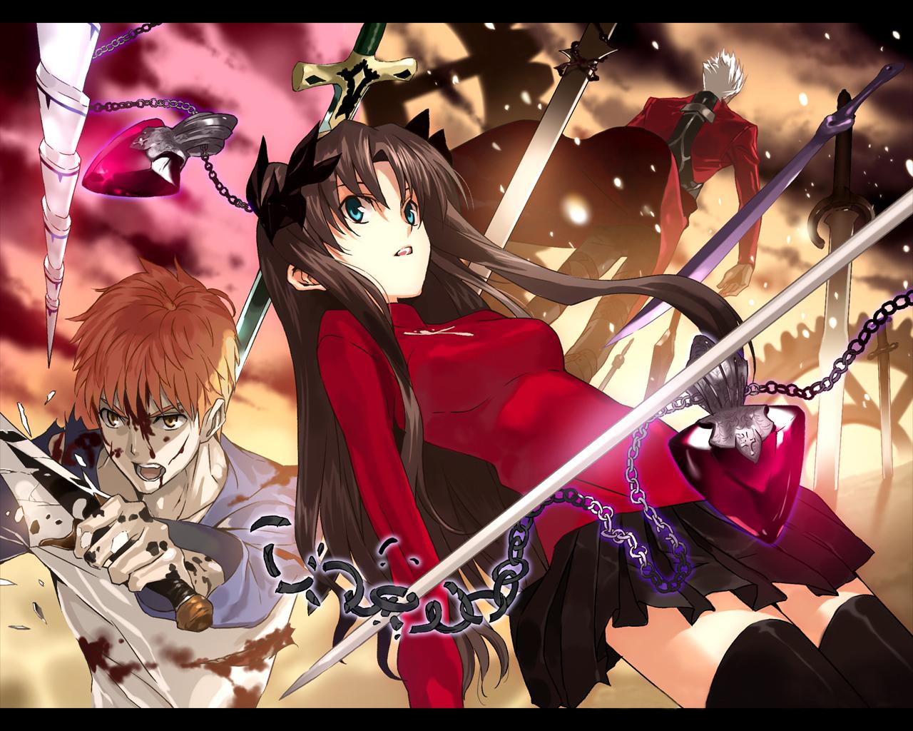 archer blood emiya_shirou fate_(series) fate/stay_night male necklace sword tohsaka_rin weapon zettai_ryouiki