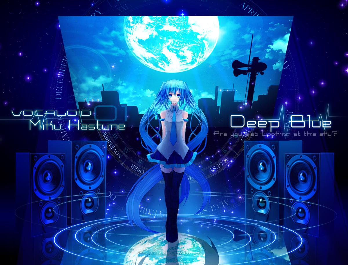blue hatsune_miku moon thighhighs tie twintails vocaloid yuuki_kira
