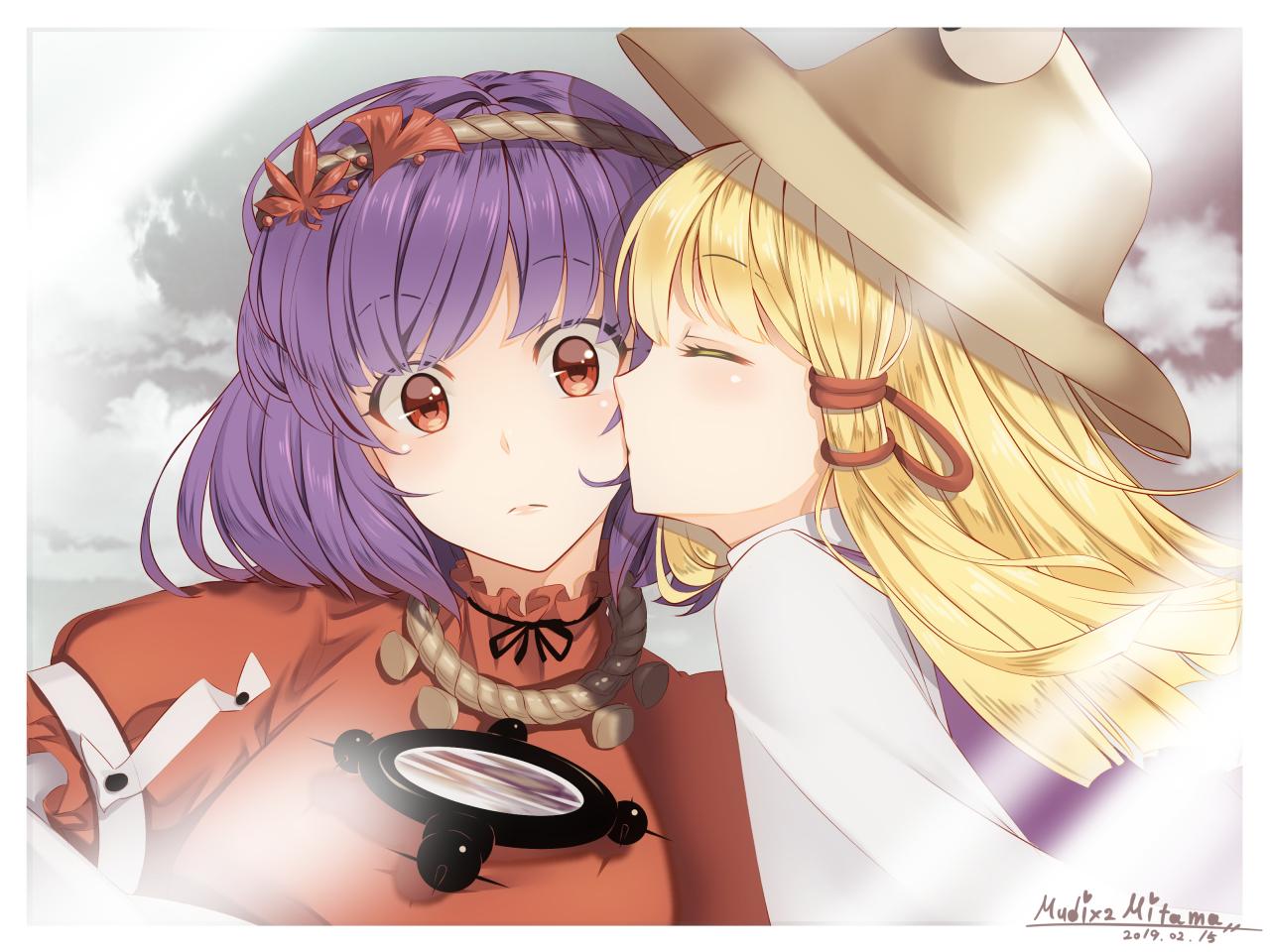 aliasing blonde_hair hat kiss long_hair mirror moriya_suwako mudix2 purple_hair red_eyes short_hair shoujo_ai signed touhou yasaka_kanako