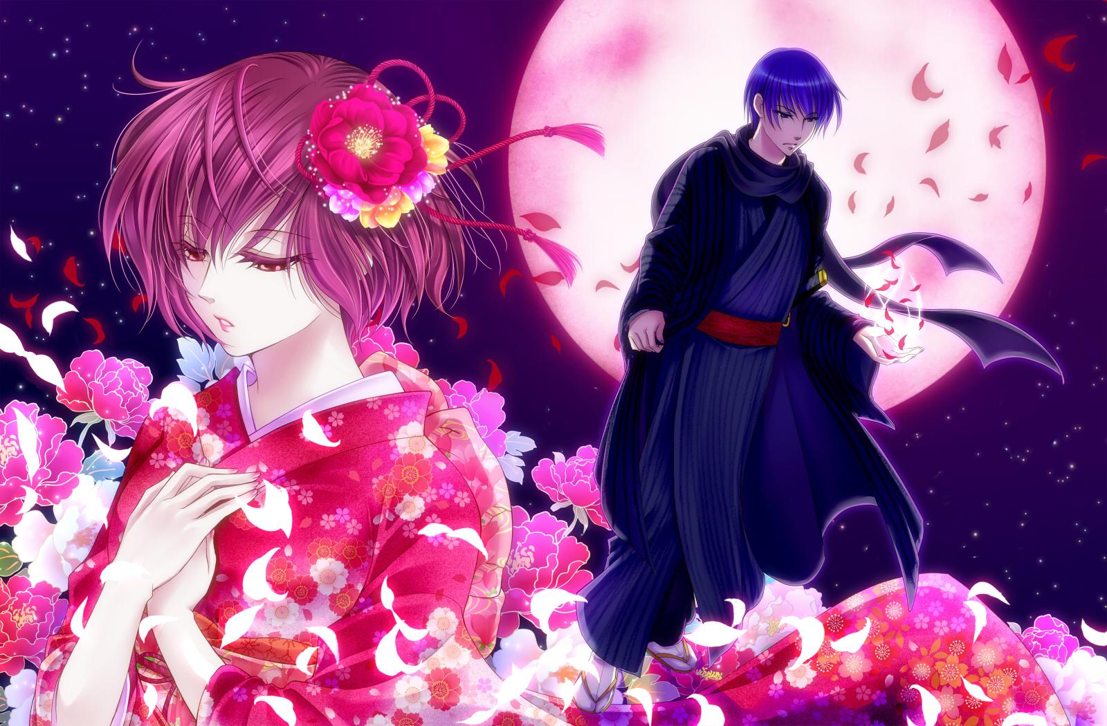 flowers japanese_clothes kaito kimono male meiko moon night vocaloid