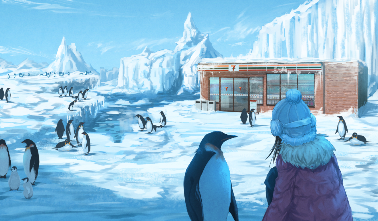 animal black_hair building clouds hat original penguin roke_(taikodon) scenic short_hair sky snow