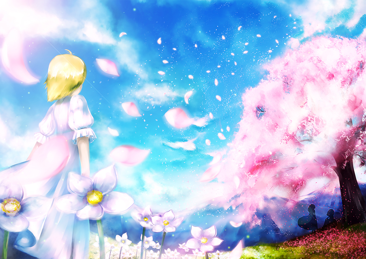 blonde_hair cherry_blossoms dress flowers jpeg_artifacts original shino_(artist) short_hair silhouette spring