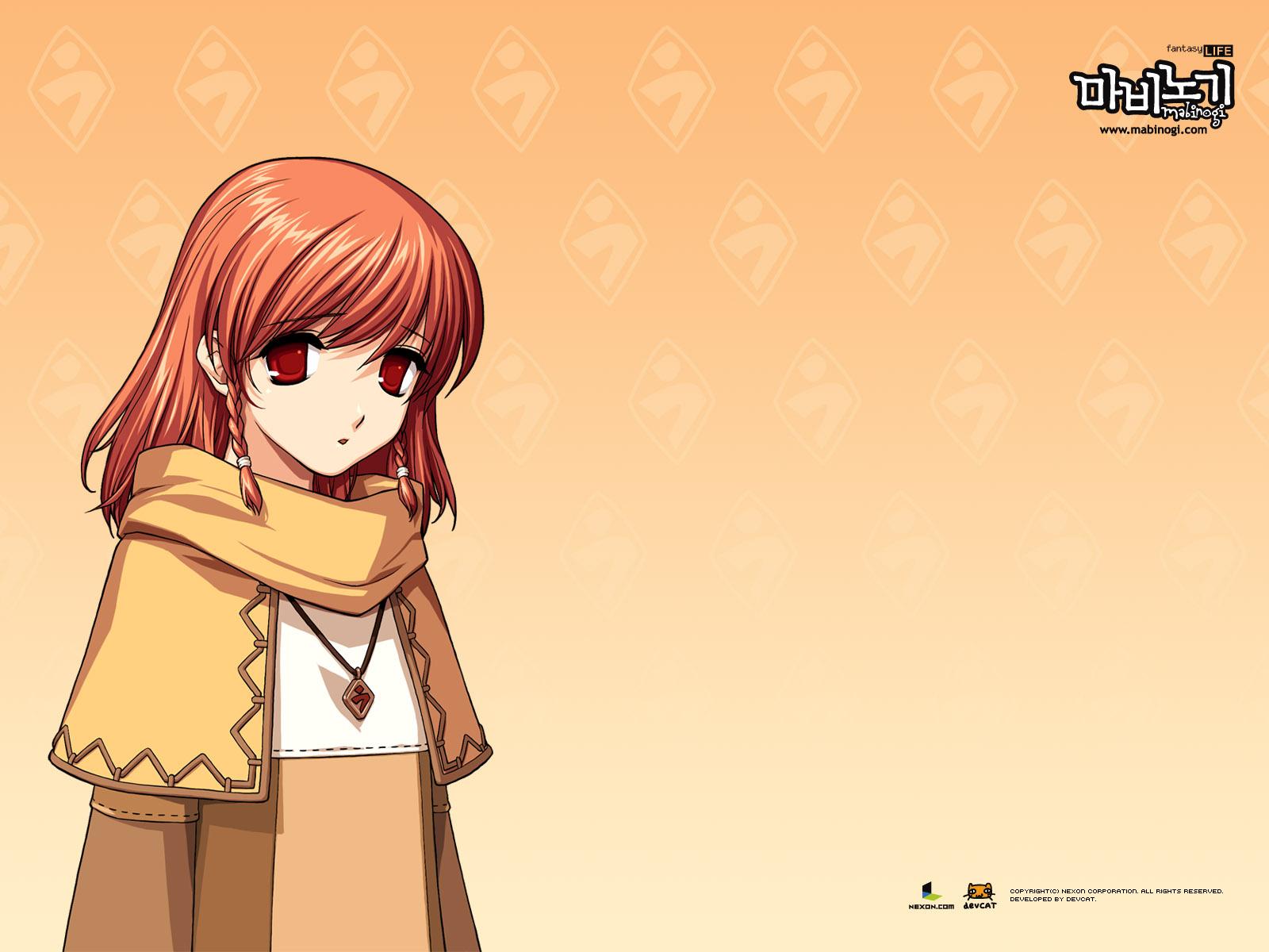 braids brown_hair mabinogi necklace orange red_eyes triona