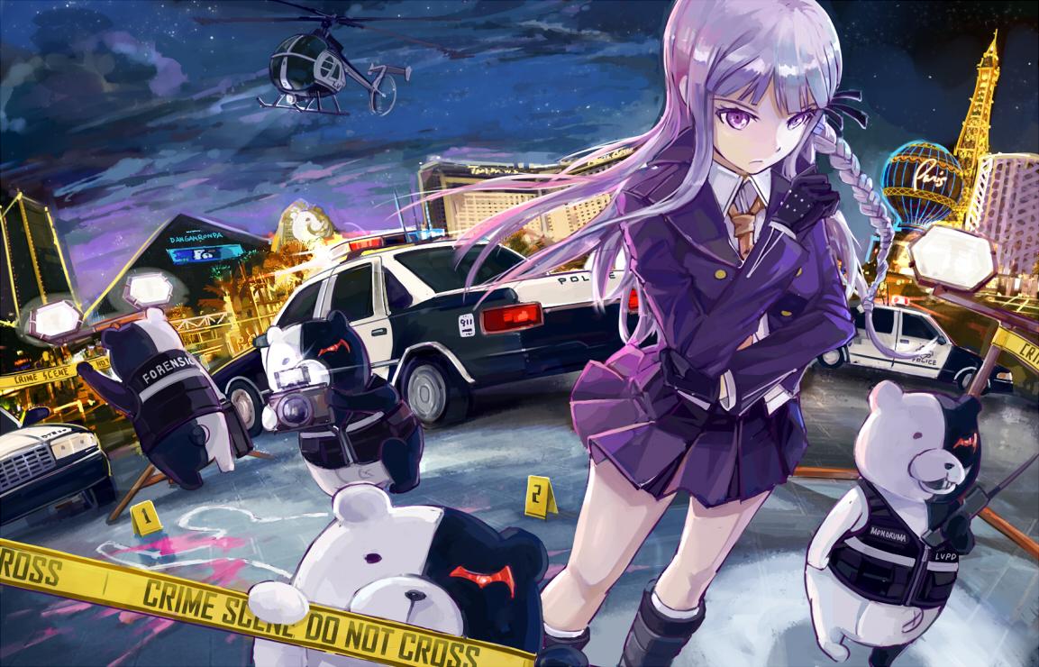 blood boots camera car city clouds d.b.spark dangan-ronpa gloves kirigiri_kyouko monokuma night police purple_eyes purple_hair skirt uniform