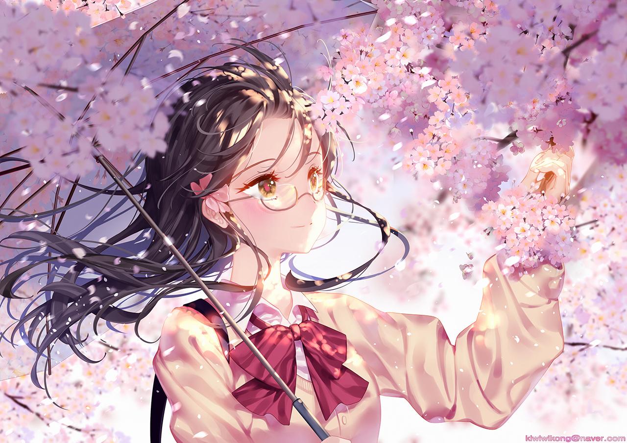 black_hair bow cherry_blossoms flowers glasses kiwikong original petals school_uniform umbrella yellow_eyes