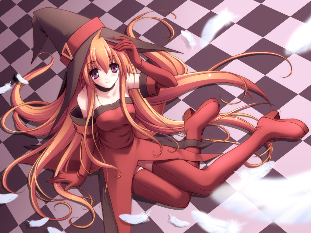 blush cierra feathers long_hair purple_eyes red_hair riviera thighhighs witch